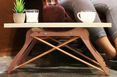 DIY Mini Coffee Table Made Out Of 4 Coat Hangers | This would make a cute tray!