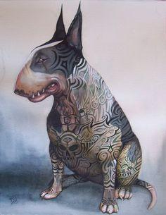 Bud Light Beer Spuds Mackenzie Dog LightUp Mothers Love Free - Bull terrier art