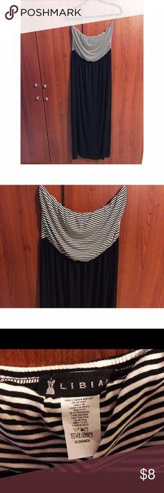 Strapless B&W maxi dress Striped maxi dress Dresses Maxi