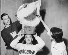 First Bucky Badger at University of Wisconsin, Madison.  Papier mache' head by William Sachse.