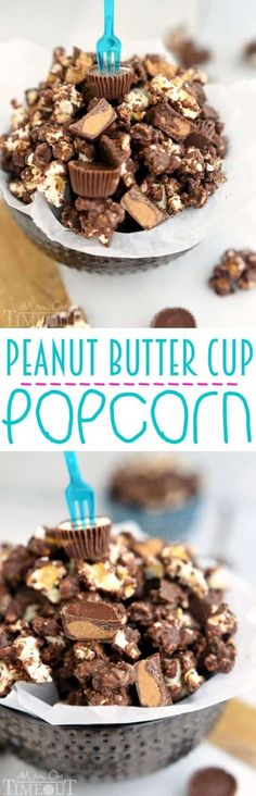You're whole family is going to love this Peanut Butter Cup Popcorn with an explosion of peanut butter and chocolate flavors in every bite! Perfect for your next party or get together this is one snack that definitely doubles as a dessert! by shannon Yummy Snacks, Yummy Treats, Delicious Desserts, Sweet Treats, Snack Recipes, Dessert Recipes, Yummy Food, Healthy Snacks, Popcorn Recipes