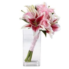 Handheld Stargazer Lily And Pink Rose Bouquet at Send Flowers. Light pale pink roses and red stargazer lilies are wrapped with ribbon for a wedding or event. Stargazer Lily Bouquet, Stargazer Lily Wedding, Rose And Lily Bouquet, Lily Bouquet Wedding, Bridesmaid Bouquet White, Pink Bouquet, Wedding Flowers, Send Flowers, Prom Flowers