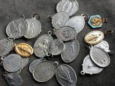 french antique collection charms mixed medals Virgin Mary, Jesus Christ, sacred hearts for pendants charms