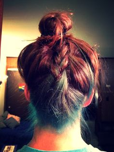 Upside down braid, turquoise hair, half dyed, chestnut brown dye, top knot
