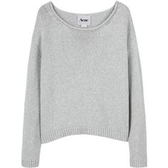 Acne Sapata Sweater (215 CAD) ❤ liked on Polyvore featuring tops, sweaters, shirts, jumpers, women, gray sweater, cotton sweater, gray long sleeve shirt, boatneck shirt and grey shirt