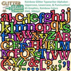 Typewriter alphabet clipart has never been so glittery! Would you like to get your elementary school-aged kids excited about reading and writing? Looking for a way to freshen up your Literacy/ELA TPT seller products? What's not to love about chalkboard letters with a little bling?Get ready to have all the fun with glitter but without the mess!