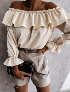 Bardot top, elegant top, beige top, frill detail top, off the shoulder top, going out top, jeans and a nice top, outfit ideas with beieg tops, beige top outfit inspo Frill Blouse, Bardot Top, Beige Top, Going Out Tops, Online Boutiques, Nice Tops, No Frills, Fashion Online, Loose Fit