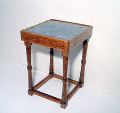 Side Table Bistro Table Granite Top Dollhouse by CalicoJewels, $34.00