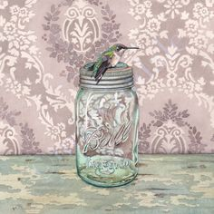 New 2016 On the Ball (framed art print from watercolour of hummingbird on antique Ball jar by Cori Lee Marvin)