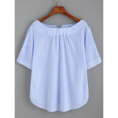 SheIn(sheinside) Blue Stripe Boat Neck Blouse With Buttons (€15) ❤ liked on Polyvore featuring tops, blouses, striped top, blue striped blouse, button blouse, striped blouse and blue striped top