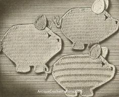 Three Little Pigs Potholders Pattern Free Crochet Potholder Pattern - See more at: http://www.antiquecrochetpatterns.com/three-little-pigs-potholders.html#sthash.umtQ96S5.dpuf