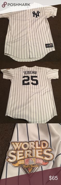 Mark Teixeira 2009 Yankees World Series jersey Mark Teixeira #25 2009 Yankees World Series home jersey. Worn once. Size XL. Fits more like a Large. Majestic Shirts Tees - Short Sleeve