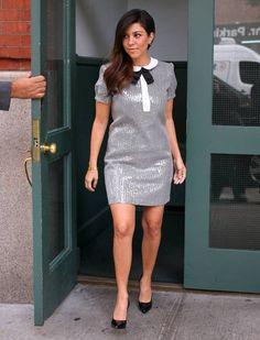 Kourtney Kardashian Saint Laurent Sequined Peter Pan Collar Dress