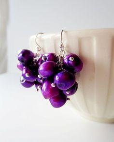 Purple Pearl Grape Cluster Earrings