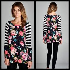 ❗️COMING SOON❗️ Floral Striped Casual Pretty Top Pretty top with floral and stripes. Brand new. Perfect casual top to throw on over jeans! S M L Tops Blouses