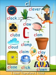cl phonics sound poster - a FREE PRINTABLE poster for auditory discrimination, sound studies, vocabulary and classroom reference.
