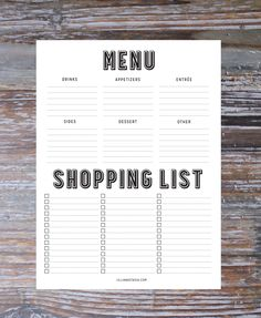 Free printable menu and shopping list.