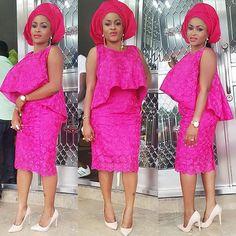 Beautiful Pink Lace Creative Aso Ebi Styles - http://www.dezangozone.com/2015/11/beautiful-pink-lace-creative-aso-ebi.html DeZango Fashion Zone