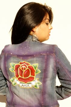 Womens / Juniors Old School Jean Jacket Rose by LasciviousGrace, $35.00