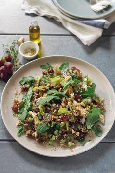 Grape Quinoa Arugula Chicken Salad. by aidamollenkamp #Salad #Chicken #Grape #Quinoa #Healthy