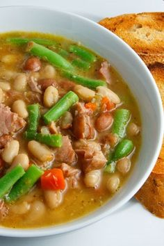 Ham and Bean Soup--plus green beans, too??? Great color punch