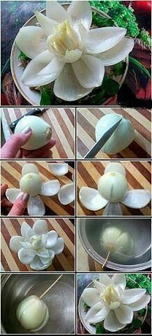 51 New Ideas Fruit Salad Decoration Vegetable Carving Veggie Art, Fruit And Vegetable Carving, Fruit Salad Decoration, Food Decoration, Fruit Decorations, Food Design, Deco Fruit, Onion Flower, Lotus Flower