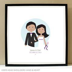 Custom Wedding Portrait Couple Wedding by HeadHandHeart on Etsy