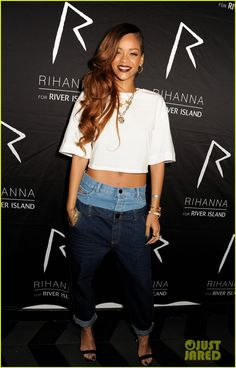 love it or leave it? >Rihanna: Double Jeans Look at River Island After Party!