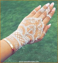 Beautiful White Henna Tattoos for Hands