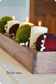 Christmas Table Centerpiece via Amy Huntley (The Idea Room)