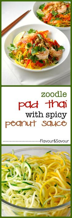 Zoodle Pad Thai with Shrimp and Peanut Sauce. This Zoodle Pad Thai has all the flavour of traditional Pad Thai, with the nutritional benefit of zucchini instead of noodles! Veggie Recipes, Seafood Recipes, Paleo Recipes, Asian Recipes, Dinner Recipes, Cooking Recipes, Ethnic Recipes, Zucchini Muffins, Zucchini Quiche