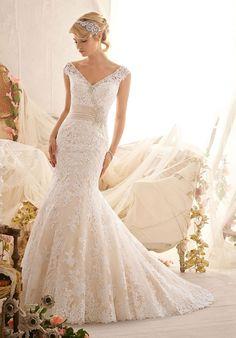 Off the Shoulder Natural Waist Wedding Dress - Bestdress2014.com