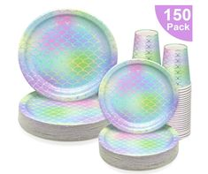 150 PCS Mermaid Party Supplies Paper Dinnerware Set - Bridal Wedding Baby Shower Girl Birthday Hawaii Ocean Cocktail Party Disposable Tableware with 50 Dinner Plates, 50 Dessert Plates, 50 9 oz Cups Party Plates, Dessert Plates, Dinner Plates, Girl Shower, Baby Shower, Mermaid Cup, Mermaid Birthday Decorations, Anniversary Crafts, Disposable Tableware