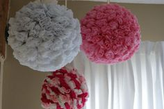 Crepe paper rose balls. These are hanging in my daughter's nursery - thanks Sarah and Susan for making them!