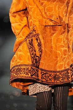 Orange coat with brown embroidery, Galliano. John Galliano, Galliano Dior, Jacquemus, Orange Crush, Orange Is The New Black, Happy Colors, Burnt Orange, Orange Orange, Orange Twist