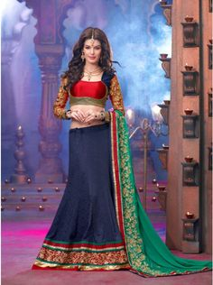 Buy Navy Blue Georgette Lehenga Choli with Sequins Work Designer Swagat Online In India - saree.com