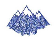 Mountains Doodle by Kezia Stewart Snowboard 🏂 Mountain Sketch, Mountain Drawing, Mountain Art, Quilting Projects, Art Projects, Nature Sketch, Sgraffito, Zen Doodle, Elementary Art