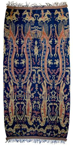 Pua Ikat ceremonial blanket, Serawak, North Borneo Multicolored with animistic worship creature. Material: Cotton Age: years Size: x Weaving Textiles, Textile Fabrics, Ikat Fabric, Weaving Art, Textile Patterns, Textile Prints, Textile Design, Textile Art, Traditional Fabric