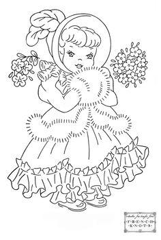 free Cute Princess Girl Embroidery Transfer Pattern