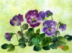 Chigirie Pansies (Japanese washi paper tearing)