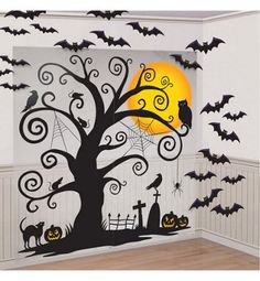 Cemetery Wall Decorations -This could be a fun Halloween party photo booth backdrop Halloween Backdrop, Halloween Dance, Halloween City, Fete Halloween, Halloween Photos, Holidays Halloween, Halloween Pumpkins, Halloween Crafts, Halloween Decorations