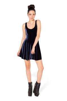 Velvet Deep Blue Evil Skater Dress - LIMITED › Black Milk Clothing