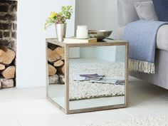 Mirrored Boomtown cube side table in a contemporary style