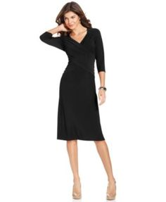 Modest dresses long below the knee black dress with 3/4 sleeves found ...