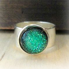 Fused Glass Ring Nautical Jewelry - Adjustable Ring with Shades of Green Dichroic Glass Silver Wide Band