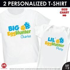 Easter Big Brother Egg Hunter & Little Brother Egg Hunter Easter Shirt or Bodysuit - 2 Personalized Easter Outfits on Etsy, $32.50