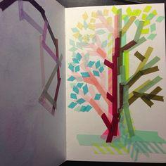 Washi Tape Kids room / cuarto de niños washi tape tree