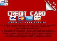 credit card number generator 2017 Features: credit card number generator with cvv and expiration date. Welcome to LHS [Latest Hacking Software] website and i am here to provide you new Credit Card … Credit Card App, Credit Card Hacks, Best Credit Cards, Credit Card Offers, Visa Card Numbers, Paypal Hacks, Number Generator, Netflix, Bank Card