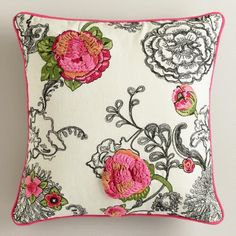 Gypsy Interior Dress My Wagon| One of my favorite discoveries at WorldMarket.com: Floral Embroidered Throw  Pillow