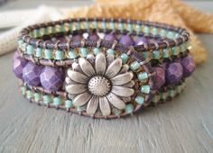 Beaded leather cuff bracelet 'Country Flowers' rustic purple, violet, aqua seafoam, daisy flower, surfer girl, luxe boho glam. $90.00, via Etsy.